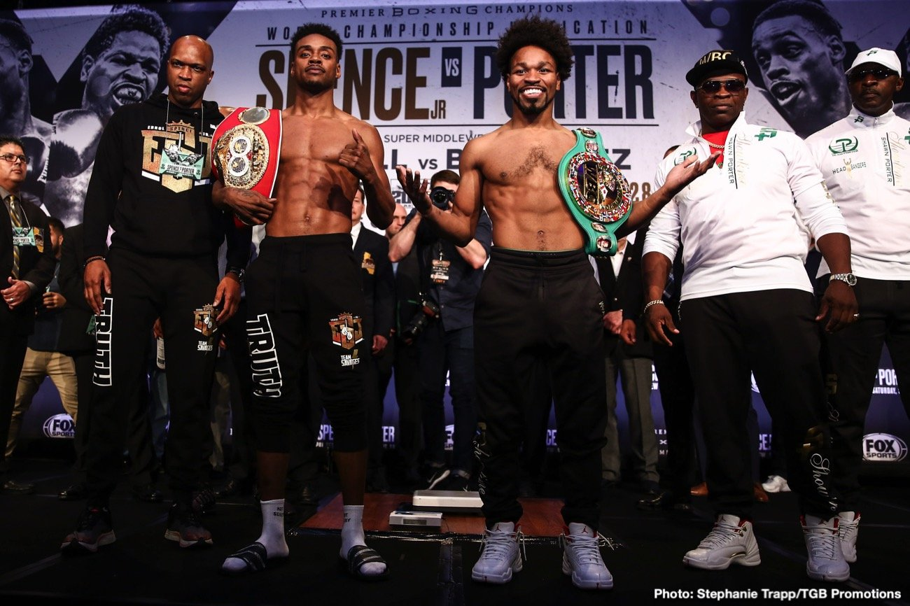 Anthony Dirrell - IBF welterweight champion Errol Spence Jr. (25-0, 21 KOs) came in at a drained looking 147 pounds at the weigh-in for his unification match against WBC champion Shawn Porter (30-2-1, 17 KOs) this Saturday evening. Porter also weighed in at 147 pounds. Spence-Porter will be shown on Fox Sports PPV at the Staples Center in Los Angeles, California.