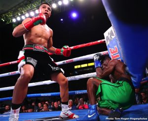 Franchon Crews Dezurn, Jaime Munguia, Maricela Cornejo, Patrick Allotey - WBO junior middleweight champion Jaime Munguia (34-0, 27 KOs) stayed unbeaten with a 4th round knockout win over challenger Patrick Allotey (40-4, 30 KOs) last Saturday night on DAZN at the Dignity Health Sports Park in Carson, California. Munguia dropped Allotey three times in the fight before the match was stopped in round 4.