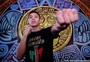 Jaime Munguia - Jaime Munguia (33-0, 26 KOs) of Tijuana, Mexico and African warrior Patrick Allotey (40-3, 30 KOs) hosted their media workout today at Azteca Boxing Club ahead of their 12-round fight for the WBO Junior Middleweight World Title. This battle will take place on Saturday, Sept. 14 at Dignity Health Sports Park in Carson, Calif. and will be streamed live on DAZN.