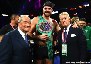 Top Rank - Bob Arum believes Tyson Fury will be able to put the finish on WBC heavyweight champion Deontay Wilder if he gets him in trouble this Saturday night. Fury had Wilder in trouble on 2 or 3 occasions in their first fight in 2018, but he didn't have the engine or enough punching power to finish the job.
