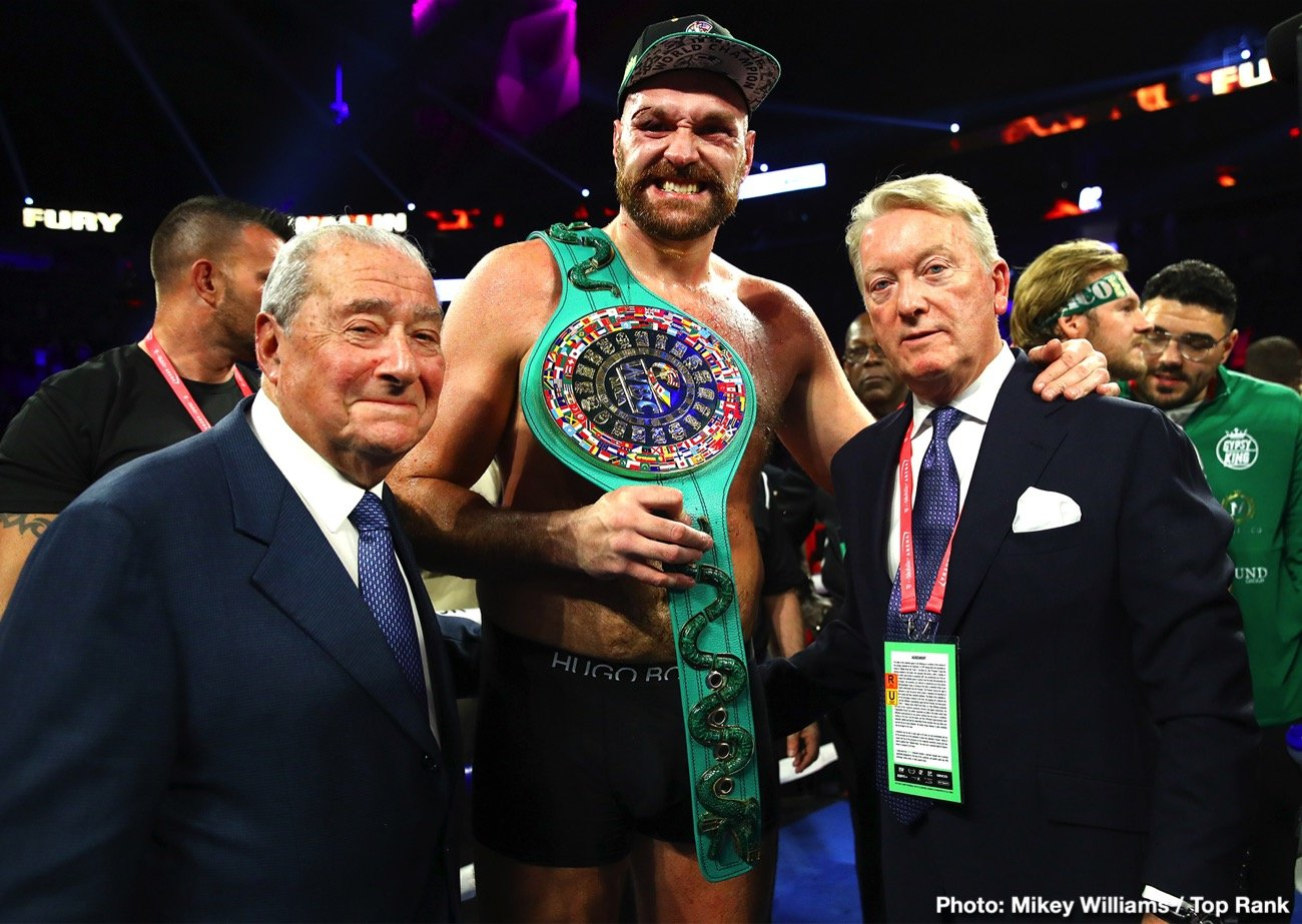 Bob Arum, Deontay Wilder, Top Rank, Tyson Fury - Bob Arum believes Tyson Fury will be able to put the finish on WBC heavyweight champion Deontay Wilder if he gets him in trouble this Saturday night. Fury had Wilder in trouble on 2 or 3 occasions in their first fight in 2018, but he didn't have the engine or enough punching power to finish the job.