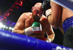 Jose Pedraza - Tyson Fury overcame a terrible cut and a stiff challenge from Otto Wallin to successfully defend his lineal heavyweight title via unanimous decision (116-112, 117-111, 118-110) in front of 8,249 fans at T-Mobile Arena Saturday evening.