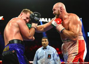 Carlos Cuadras, Emanuel Navarrete, Jose Pedraza, Jose Zepeda, Juan Miguel Elorde, Otto Wallin, Tyson Fury - Tyson Fury (29-0-1, 20 KOs) suffered a bad cut in the third round and was forced to battle hard to win a 12 round unanimous decision over Otto Wallin (20-1, 13 KOs) on ESPN+ on Saturday night at the T-Mobile Arena in Las Vegas, Nevada.