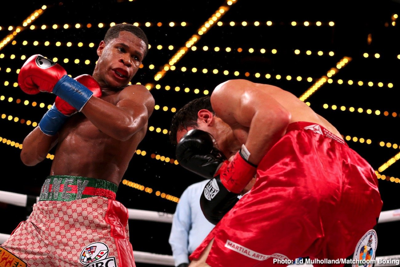 Michael Hunter - Devin Haney (23-0, 15 KOs) beat previously undefeated Zaur Abdullaev (11-1, 7 KOs) by a fourth round on Friday night to win the interim WBC lightweight title at Madison Square Garden in New York. Abdullaev suffered a cheek and nose injury that led to the fight being hated after round 4.