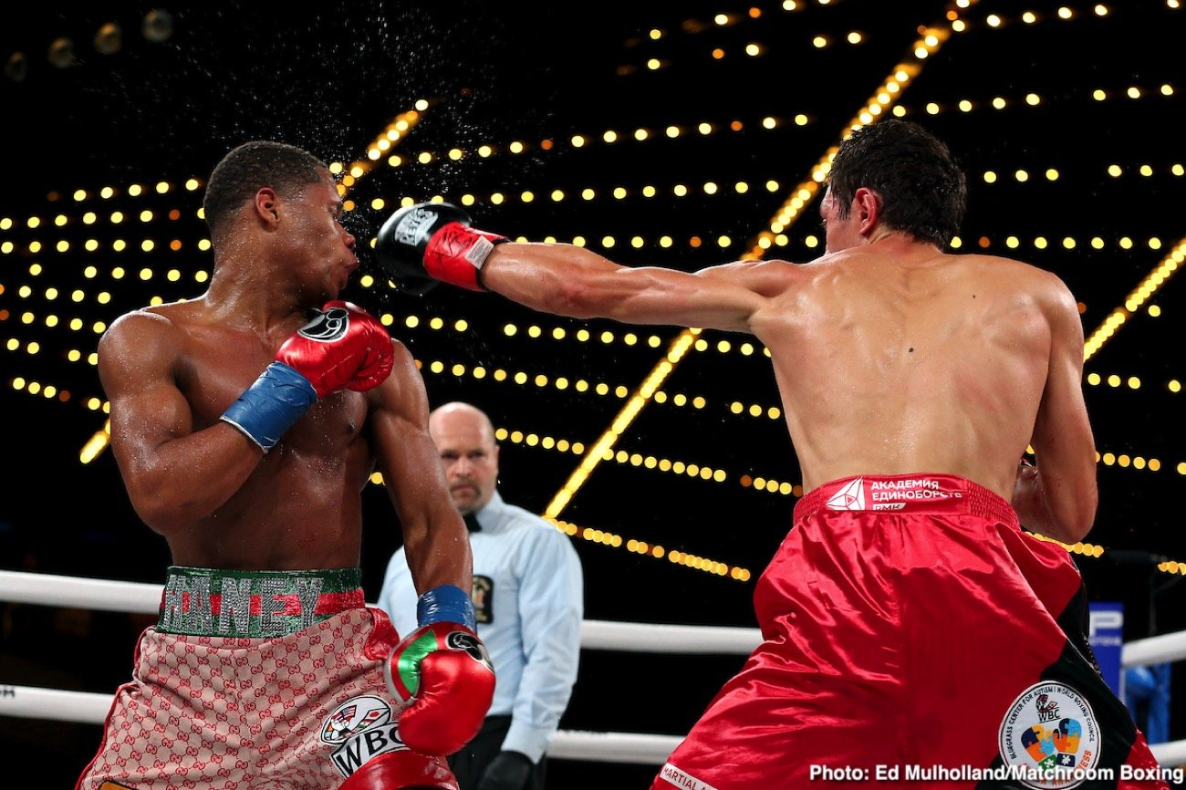 Amanda Serrano, Daniyar Yeleussinov, Devin Haney, Heather Hardy, Magomedrasul Majidov, Michael Hunter, Murodjon Akmadeliav, Sergey Kuzmin, Zaur Abdullaev - Devin Haney (23-0, 15 KOs) beat previously undefeated Zaur Abdullaev (11-1, 7 KOs) by a fourth round on Friday night to win the interim WBC lightweight title at Madison Square Garden in New York. Abdullaev suffered a cheek and nose injury that led to the fight being hated after round 4.