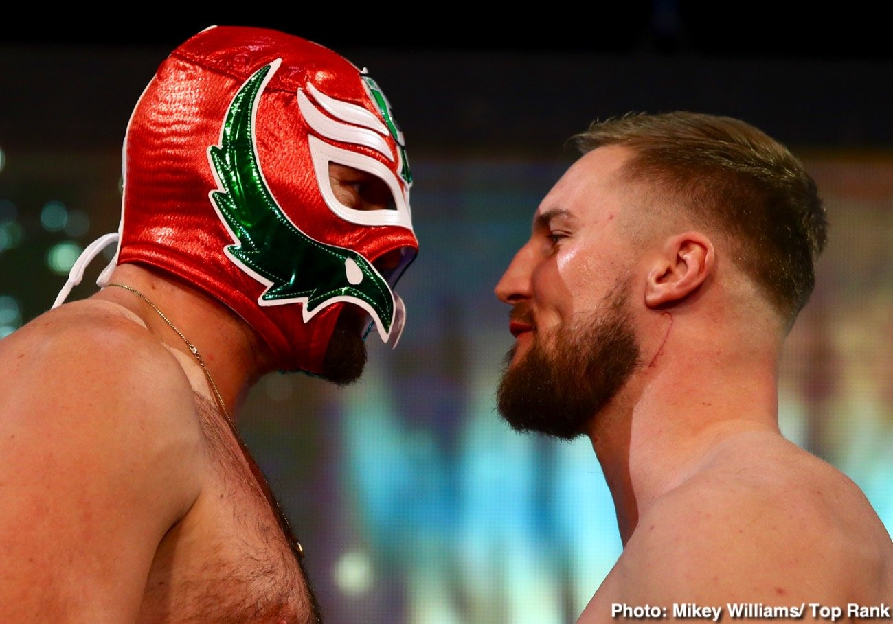 "Jose Pedraza - A mask wearing Tyson Fury weighed in at 254.4 pound, and his opponent Otto Wallin tipped the scales at 236 lbs. for their fight this Saturday night on ESPN+ at the T-Mobile Arena in Las Vegas, Nevada. Fury was in his normal joking mood in clowning around during the weigh-in, and appearing happy about his fight tomorrow night against the 6'6"" Wallin."