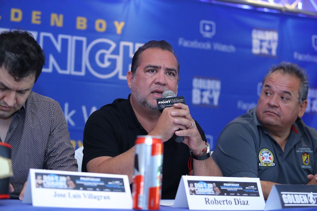 """Jesus Cuadro - Fighters from the Diaz Jr. vs. Cuadro undercard hosted a final press conference today at the Lucerna Hotel in Mexicali, Mexico ahead of the Sept. 21 edition of Golden Boy Fight Night on Facebook Watch. The undercard is led by the co-main event between hometown favorite Leonardo """"El Leon"""" Baez (16-2, 9 KOs), who announced his signing with Golden Boy, taking on Venezuelan contender Edixon Perez (19-4, 4 KOs) in a 10-round defense of his NABA Super Bantamweight Title."""