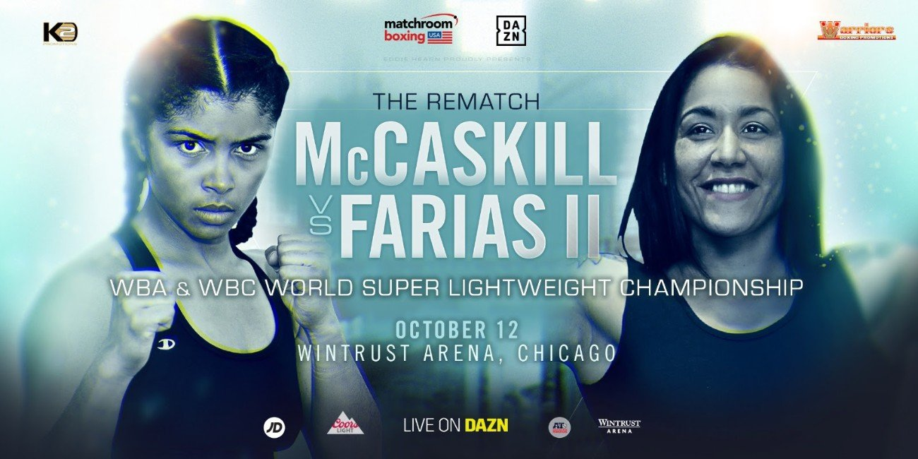 Erica Farias, Jessica McCaskill - Jessica McCaskill will defend her WBA and WBC World Super-Lightweight titles against old foe Erica Farias at the Wintrust Arena in Chicago on Saturday October 12, live on DAZN in the US and on Sky Sports in the UK.