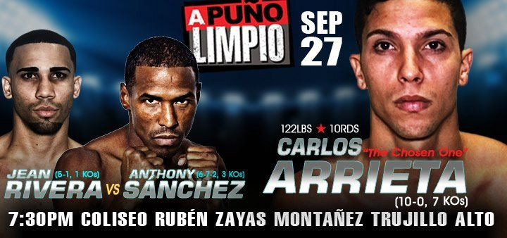 """Carlos Arrieta, Ricardo Núñez - Everything is ready for the undefeated Carlos """"The Chosen One"""" Arrieta to climb into the ring for his first 10-round fight against veteran Panamanian Ricardo """"El Matemático"""" Núñez in another edition of the series """"A Puño Limpio"""", which will take place this Friday, September 27 at the Rubén Zayas Montañez Coliseum in Trujillo Alto in a presentation of PR Best Boxing Promotions (PRBBP) in association with Spartan Boxing which will be broadcast live on www.facebook.com/PRBestBoxing."""
