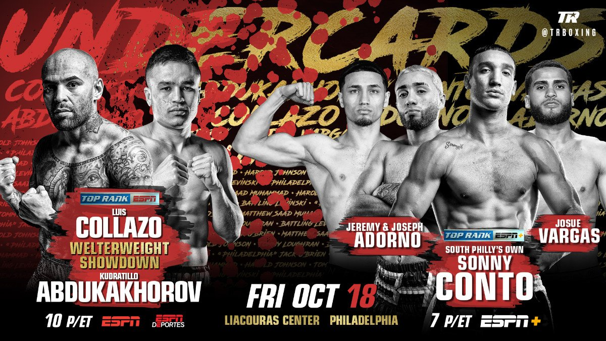 Luis Collazo - A high-stakes welterweight co-feature will set the stage for the can't-miss light heavyweight unification bout between IBF champion Artur Beterbiev and WBC champion Oleksandr Gvozdyk Friday, October 18 at the Liacouras Center.