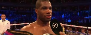 """Ebeneezer Tetteh - Unbeaten heavyweight contender Daniel Dubois remained well on course to win """"all the belts"""" last night as he smashed right through a previously unbeaten Ebeneezer Tetteh to take the vacant Commonwealth belt. The fight lasted exactly half a round, Tetteh being belted to the mat twice and being rescued by the third man in the ring at the 1:30 mark."""