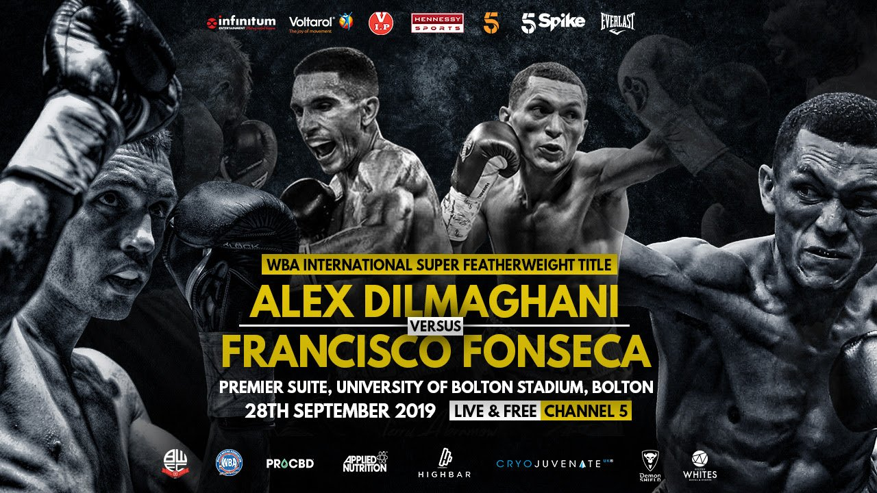 Francisco Fonseca - Hennessy Sports Statement: The Vacant WBA International Super Featherweight Championship to be contested this evening between Alex Dilmaghani and Francisco Fonseca at the University of Bolton, Premier Suite, has been cancelled.