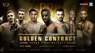 Anthony Yigit - The quarter-finals of the super-lightweight #GoldenContract tournament will take place at London's York Hall on November 22.