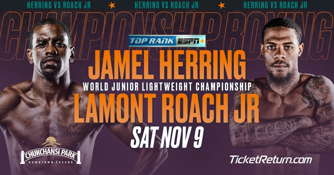 """Lamont Roach - Tickets for Jamel """"Semper Fi"""" Herring's WBO junior lightweight title defense against No. 1 contender Lamont Roach Jr. — Saturday, Nov. 9 under the lights at Chukchansi Park — are on sale now."""