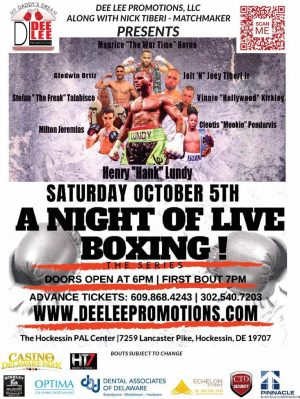 """Hank Lundy - Dee Lee Promotions, LLC. in conjunction with Nick Tiberi, Matchmaker, present  """"A Night of LIVE Boxing"""" at the Hockessin PAL Center in Hockessin, DE, """"THE BOXING CAPITAL OF DELAWARE"""" Saturday, October 5, 2019.  Lightweight contender Henry """"HANK"""" Lundy (29-8-1/14 ko's) of Philadelphia, PA is set to headline Dee Lee's latest first rate professional boxing card to the delight of the many fantastic Delaware fight fans. Lundy arrives straight from signing on with the Dee Lee Promotions brand and brings credentials that include an unbelievable 12 different title bouts at a variety of levels! Lundy is all set to take on Oscar Barajas Grano (18-8-1/9 ko's) of Zamaro, Mexico, in the 10-round Main Event. On paper it sure looks like these two ring hardened fighters should put on quite a show!"""