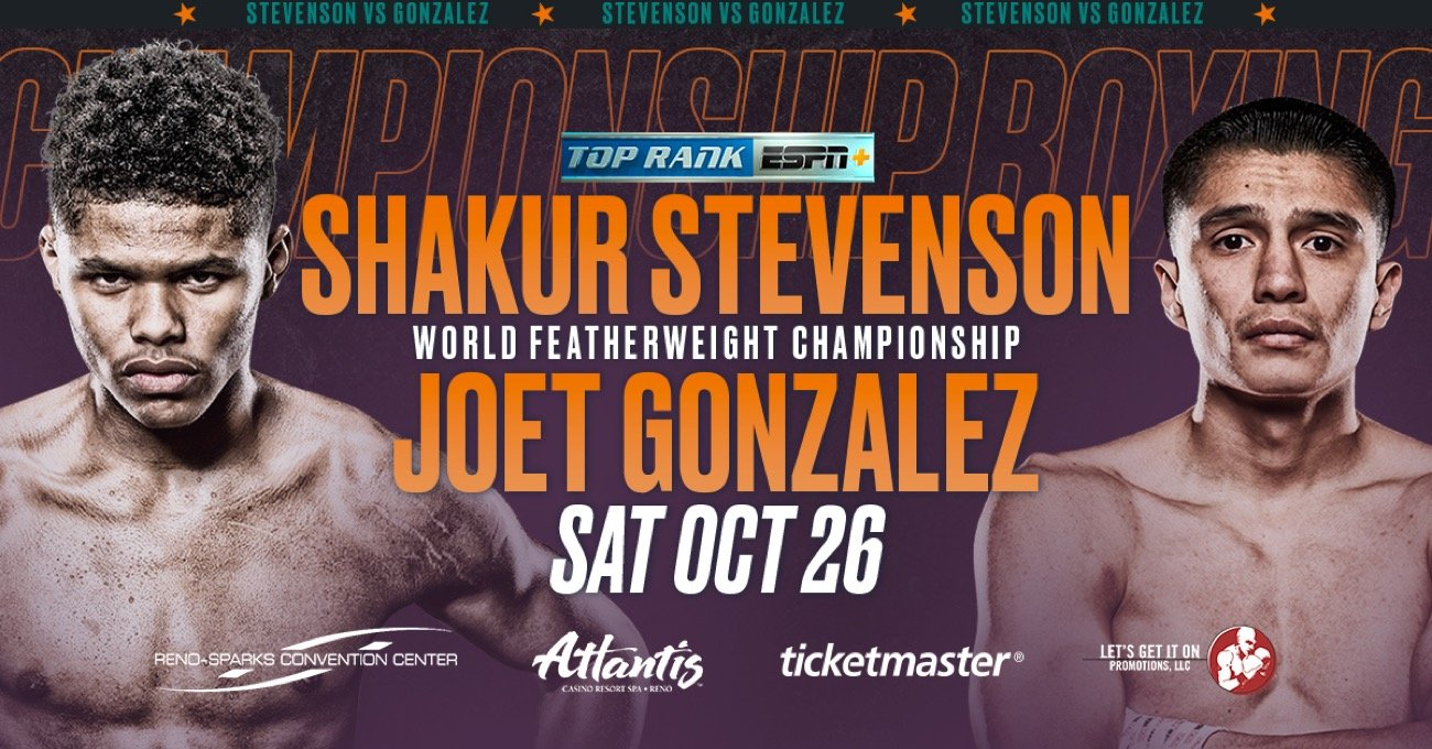 Shakur Stevenson -  Tickets for the highly anticipated vacant WBO featherweight world title fight between unbeaten stars Shakur Stevenson and Joet Gonzalez — Saturday, October 26 at the Reno-Sparks Convention Center — go on sale TODAY, September 23, at 10 a.m. PT.