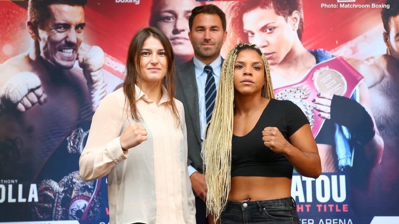 "Christina Linardatou, Katie Taylor - Eddie Hearn: ""This is a huge show and a huge night of boxing on November 2 at one of our favourite arenas, the Manchester Arena live on Sky Sports in the UK and DAZN in the US. I want to thank all the fighters for coming here today for the press conference, I know we have got just under seven weeks to go so you guys are in camp, particularly thank you to Christina for coming over from Athens and Brian from America, Katie has come over from Connecticut and Anthony Crolla for walking here! It's a special night of boxing, Adam Smith actually said to me on the way up that this is probably three of the nicest people in boxing in Joshua Buatsi, Anthony Crolla and Katie Taylor. They are an honour to represent, three very different fights for those three on the card, Katie Taylor of course now one of the biggest stars in world boxing - the unified Lightweight Champion of the World. We remember that great fight against Delfine Persoon on June 1 at Madison Square Garden and I think every moment for Katie Taylor now is about creating history and a legacy for herself. She moves up a weight class to try and become a two-weight World Champion against the WBO Super-Lightweight Champion Christina Linardatou in what I think is one of the toughest tests for her to date. Christine has been fantastic to date, she is a true champion and has a huge following in Greece as well. This is a very dangerous fight."