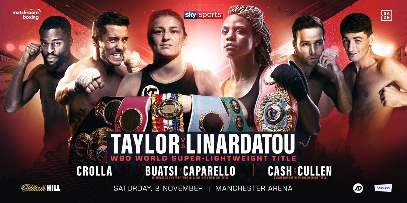 Katie Taylor - Katie Taylor will bid to become a two-weight World Champion when she meets Christina Linardatou for the WBO Super-Lightweight World title at Manchester Arena on Saturday November 2, shown live on Sky Sports in the UK and DAZN in the US.