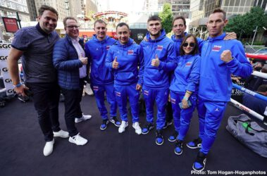 DAZN, Gennady Golovkin, Sergiy Derevyanchenko - Sergiy Derevyanchenko (13-1, 10 KOs) looked very sharp on Tuesday at his workout at Madison Square Garden in New York in getting ready for his fight against Gennady 'GGG' Golovkin (39-1-1, 35 KOs) this Saturday night.