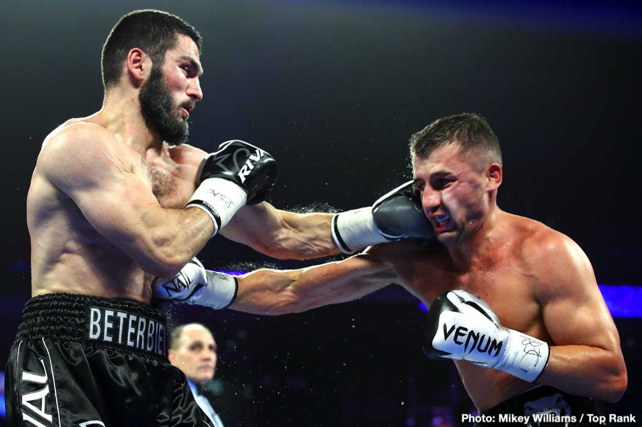 Artur Beterbiev -  Undefeated IBF light heavyweight world champion Artur Beterbiev (15-0, 15 KOs) scored a trilling technical knockout victory over previously unbeaten Oleksandr Gvozdyk (17-1, 14 KOs), as referee Gary Rosato waived off the bout after Beterbiev dropped Gvozdyk three times in a one-sided tenth-round to obtain Gvozdyk's WBC light heavyweight world title, and became the lineal light heavyweight champion.