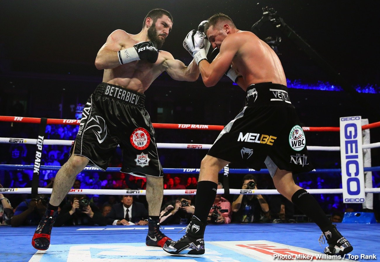 Luis Collazo - It was a savage light heavyweight battle that lived up to the Philadelphia billing. Artur Beterbiev, in a back-a-forth affair, knocked out Oleksandr Gvozdyk in the 10th round to unify the WBC/IBF light heavyweight titles Saturday evening at the Liacouras Center.