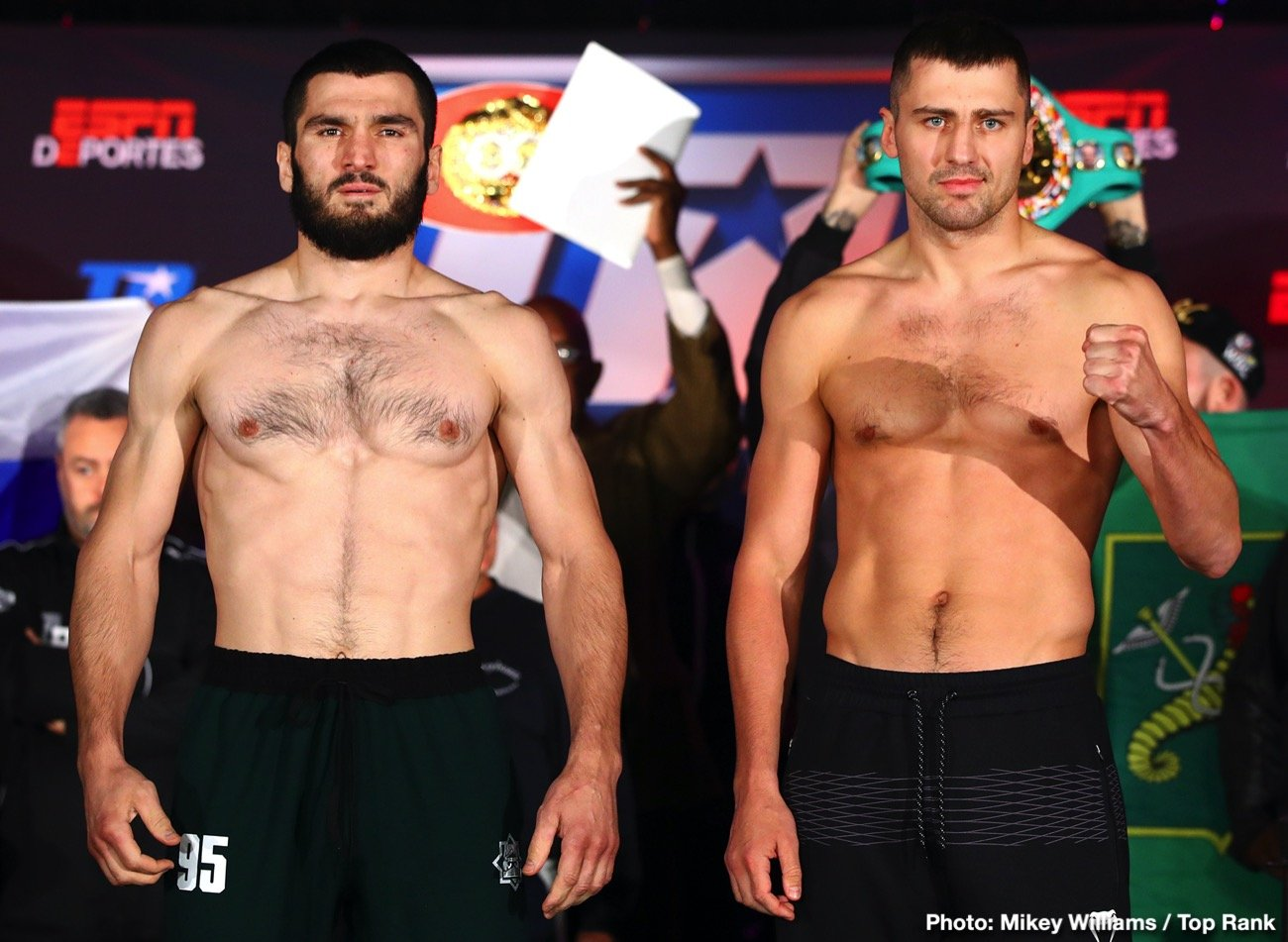 Luis Collazo - Light heavyweight champions Artur Beterbiev and Oleksandr Gvozdyk both made weight successfully on Thursday afternoon for their unification match this Friday evening on Top Rank Boxing on ESPN and ESPN Deportes. Beterbiev (14-0, 14 KOs) looked shredded at 174.5 lbs. Gvozdyk (17-0, 14 KOs) weighed 174.3 lbs.  Both fighters look ready for war on Friday.