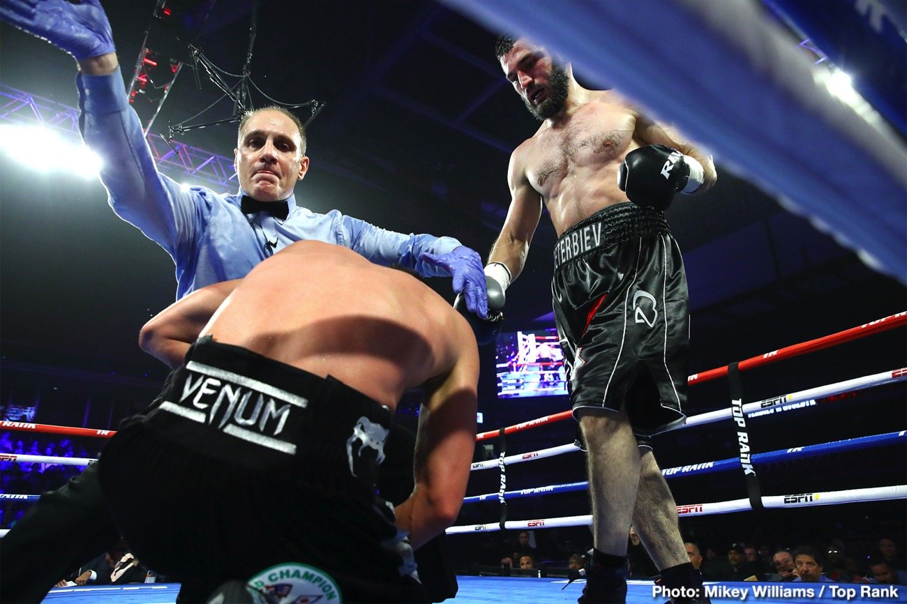 Artur Beterbiev, Kudratillo Abdukakhorov, Luis Collazo, Oleksandr Gvozdyk - IBF light heavyweight champion Artur Beterbiev (15-0, 15 KOs) showed off his brutal punching power in pounding away at WBC champion Oleksandr Gvozdyk (17-1, 10 Kos) until the fight was halted in the 10th round on Friday night in their unification fight at the Liacouras Center, in Philadelphia. The time of the stoppage was at 2:49 of round 10.