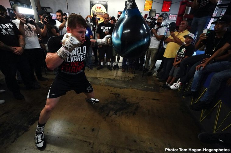 """Canelo Alvarez, Sergey Kovalev - Canelo Alvarez (51-1-2, 34 KOs) hosted a media workout today at the House of Boxing in San Diego, Calif. ahead of his upcoming 12-round bout against Sergey """"Krusher"""" Kovalev (34-3-1, 29 KOs) for his WBO Light Heavyweight World Title. Trainers Eddy Reynoso and Jose """"Chepo"""" Reynoso also attended the workout. The event will take place Saturday, Nov. 2 at the MGM Grand Garden Arena in Las Vegas and will be streamed live exclusively as one of the most-anticipated events this fight season on DAZN."""