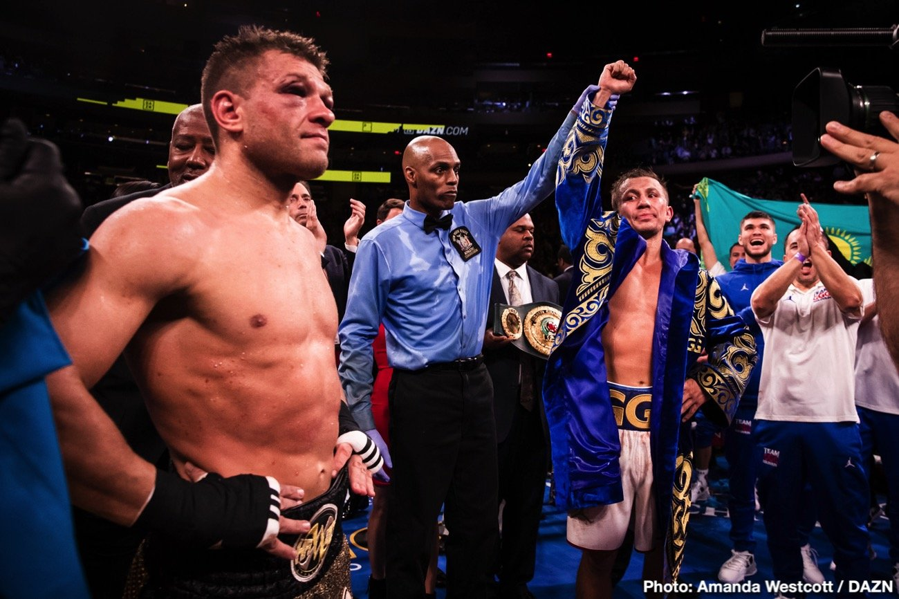 """Gennadiy Golovkin - Though IBF middleweight champ Gennady Golovkin craves a third fight with arch-rival Canelo Alvarez, the Mexican star doesn't seem too interested, stating on a conference call to hype his upcoming light-heavyweight debut against Sergey Kovalev that a third fight with GGG is """"no challenge"""" to him. So Triple-G moves on, probably (let's see how Canelo gets on with Kovalev, maybe he will decide to drop back down in weight and take that third, lucrative fight with GGG afterwards)."""