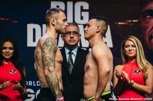 """Gennady Golovkin, Sergiy Derevyanchenko -  Boxing's pound-for-pound superstar attraction Gennadiy """"GGG"""" Golovkin (39-1-1, 35 KOs) from Karaganda, Kazakhstan and Brooklyn-based Ukrainian challenger Sergiy Derevyanchenko (13-1, 10 KOs) tilted the scales a day before their highly-anticipated clash for the vacant IBF/IBO World Middleweight titles on Saturday, Oct. 5, live from Madison Square Garden in New York and streamed exclusively on DAZN. Golovkin, who has worn a world championship belt every year since 2010, is looking to extend that streak into 2019. It is one of several highlights this fight season on DAZN – an entire fall featuring boxing's biggest matchups in one of the best schedules in boxing history."""