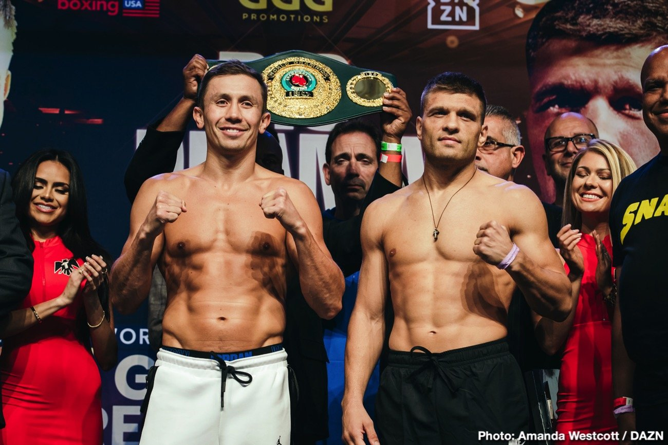 DAZN, Gennady Golovkin, Sergiy Derevyanchenko - Gennady Golovkin and Sergiy Derevyanchenko made weight on Friday for their fight this Saturday on DAZN at Madison Square Garden in New York. GGG hit the scales at 159.2 pounds, and looked good apart from his tired appearance.