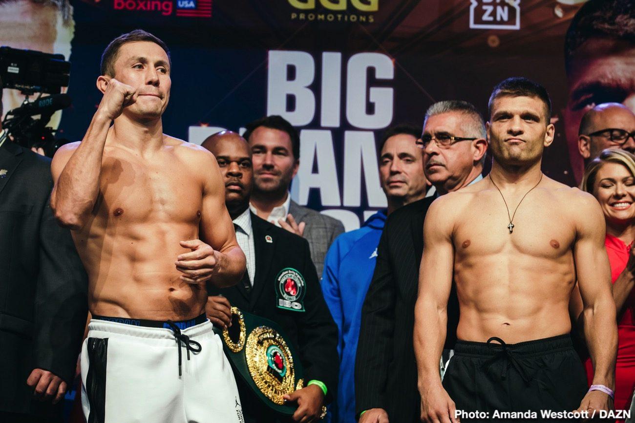 "DAZN Eddie Hearn Gennadiy Golovkin Saul ""Canelo"" Alvarez Sergiy Derevyanchenko Boxing News"