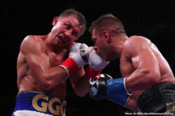 "Ali Akhmedov, Gennadiy Golovkin, Israil Madrimov, Ivan Baranchyk, Sergey Derevyanchenko - In what could possibly be a candidate for Fight of the Year, boxing's pound-for-pound superstar attraction Gennadiy ""GGG"" Golovkin (40-1-1, 35 KOs) and Sergiy ""The Technician"" Derevyanchenko (13-2, 10 KOs) slugged it out for 12 dramatic rounds filled with heart and grit that saw Derevyanchenko hit the canvas in Round 1 and suffer a brutal cut over his right eye in Round 2, but battle back to balance out the scorecards with impressive power shots to the body. Ultimately, Golovkin out-jabbed and out-punched the Ukrainian warrior to narrowly walk away with his 40th professional victory via a unanimous decision to extend his world champion streak."