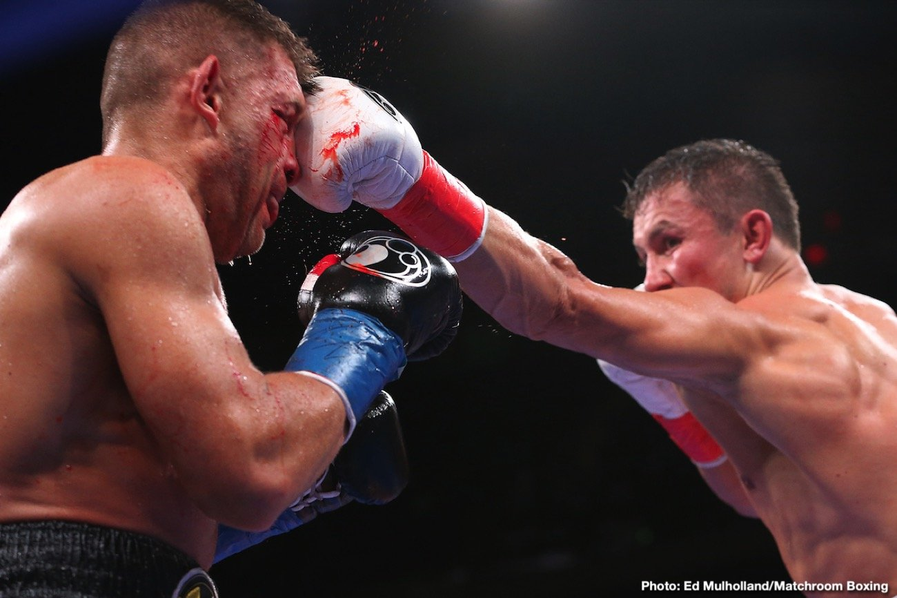 "Ivan Baranchyk - In what could possibly be a candidate for Fight of the Year, boxing's pound-for-pound superstar attraction Gennadiy ""GGG"" Golovkin (40-1-1, 35 KOs) and Sergiy ""The Technician"" Derevyanchenko (13-2, 10 KOs) slugged it out for 12 dramatic rounds filled with heart and grit that saw Derevyanchenko hit the canvas in Round 1 and suffer a brutal cut over his right eye in Round 2, but battle back to balance out the scorecards with impressive power shots to the body. Ultimately, Golovkin out-jabbed and out-punched the Ukrainian warrior to narrowly walk away with his 40th professional victory via a unanimous decision to extend his world champion streak."