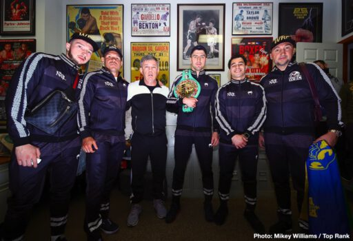 Artur Beterbiev, ESPN, Kudratillo Abdukakhorov, Luis Collazo, Oleksandr Gvozdyk - IBF light heavyweight world champion Artur Beterbiev and WBC light heavyweight world champion Oleksandr Gvozdyk ended their fight promotion obligations Wednesday at the office of Hall of Fame promoter J Russell Peltz. They posed for pictures in front of the fight poster for the legendary 1962 light heavyweight championship fight between Doug Jones and Harold Johnson, which took place at the old Philadelphia Arena.