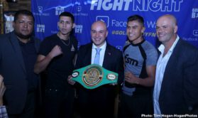 Humberto De Santiago, Oscar Duarte - Lightweight contender Oscar Duarte (17-1-1, 12 KOs) of Parral, Chihuahua and new opponent Humberto De Santiago (18-6-1, 13 KOs) of Santa Catarina, Mexico hosted their final press conference today at Buffalo Wild Wings in Chihuahua, Mexico ahead of their 10-round fight for Duarte's WBC Latino Lightweight Title.