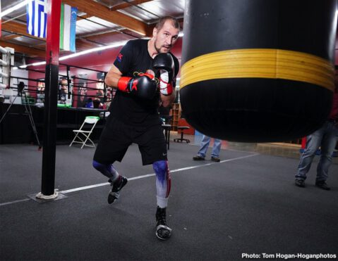 "Canelo Alvarez, Sergey Kovalev - Sergey ""Krusher"" Kovalev (34-3-1, 29 KOs), hosted a media workout yesterday at the Boxing Laboratory in Oxnard, Calif. ahead of his upcoming 12-round bout against Canelo Alvarez (51-1-2, 34 KOs) for his WBO Light Heavyweight World Title. Kathy Duva, CEO of Main Events, also attended the workout, along with trainer Buddy McGirt. The event will take place Saturday, Nov. 2 at the MGM Grand Garden Arena in Las Vegas and will be streamed live exclusively as one of the most-anticipated events this fight season on DAZN."
