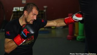 "Sergey Kovalev - Sergey ""Krusher"" Kovalev (34-3-1, 29 KOs), hosted a media workout yesterday at the Boxing Laboratory in Oxnard, Calif. ahead of his upcoming 12-round bout against Canelo Alvarez (51-1-2, 34 KOs) for his WBO Light Heavyweight World Title. Kathy Duva, CEO of Main Events, also attended the workout, along with trainer Buddy McGirt. The event will take place Saturday, Nov. 2 at the MGM Grand Garden Arena in Las Vegas and will be streamed live exclusively as one of the most-anticipated events this fight season on DAZN."