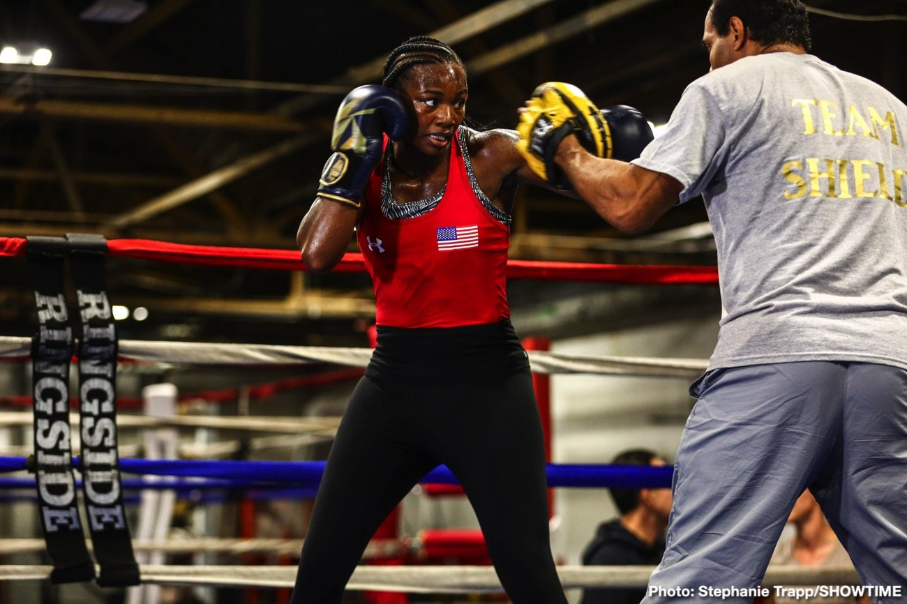 Claressa Shields - Unified middleweight world champion Claressa Shields and former world champion Ivana Habazin showed off their skills at a media workout Wednesday before they go toe-to-toe this Saturday night in a showdown for the WBO and WBC 154-pound world titles live on SHOWTIME from Dort Federal Credit Union Event Center in Flint, Mich.