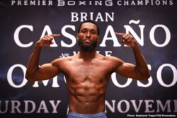 """Brian Carlos Castaño, Wale Omotoso - Undefeated former champion Brian Carlos Castaño will look to further cement his place in the 154-pound division when he battles exciting veteran contender Wale """"Lucky Boy"""" Omotoso in a 10-round super welterweight showdown that headlines FS1 PBC Fight Night and on FOX Deportes Saturday, November 2 from MGM National Harbor in Maryland."""