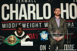 Dennis Hogan, Jermall Charlo, Showtime Boxing - Undefeated WBC Middleweight World Champion Jermall Charlo and highly-ranked contender Dennis Hogan went face to face for the first time Thursday at a press conference to preview their showdown taking place Saturday, December 7 live on SHOWTIME from Barclays Center, the home of BROOKLYN BOXING™, in an event presented by Premier Boxing Champions.