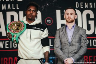 Showtime Boxing - Undefeated WBC Middleweight World Champion Jermall Charlo and highly-ranked contender Dennis Hogan went face to face for the first time Thursday at a press conference to preview their showdown taking place Saturday, December 7 live on SHOWTIME from Barclays Center, the home of BROOKLYN BOXING™, in an event presented by Premier Boxing Champions.