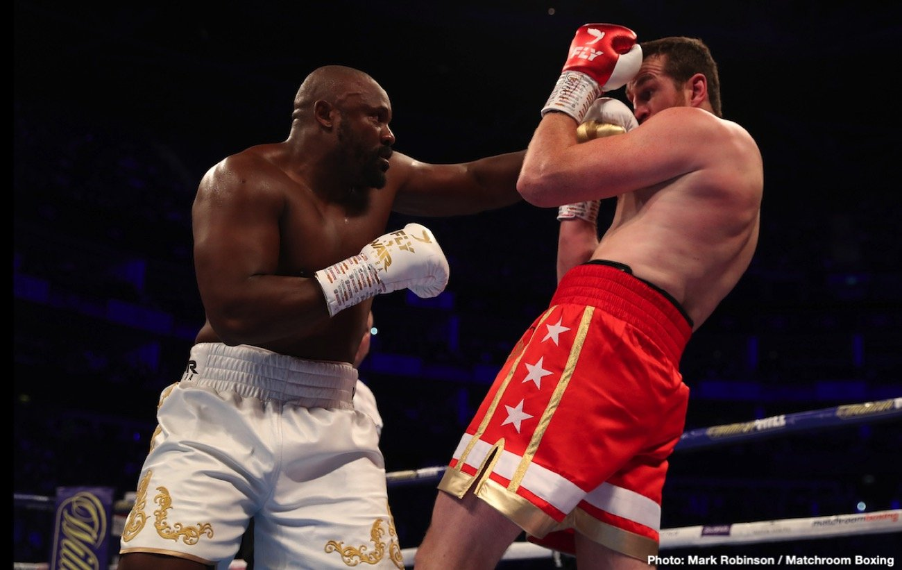"Dereck Chisora keeps on rolling. Last night's thrilling-while-it-lasted rumble with David Price, won by ""War"" in the fourth-round when Pricey's corner wisely threw in the towel, allows the 35 year old slugger to call for another big fight, and Eddie Hearn is going to try and make it. Speaking with IFL TV after last night's superb card at The O2 in London, the promoter said he wants to make a ""heavyweight card"" for next February, and that Chisora, and possibly Oleksandr Usyk, Dillian Whyte, the Alexander Povetkin-Michael Hunter winner, Joseph Parker, Filip Hrgovic and Dave Allen, could all feature."