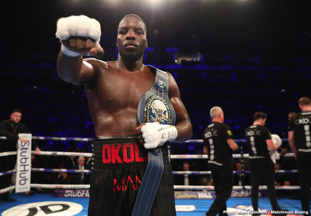 Lawrence Okolie - Exciting and talented British cruiserweight Lawrence Okolie has yet to fight for a world title, much less win one, but the tall puncher from London is close to facing Krzysztof Glowacki for the vacant WBO belt at 200 pounds. And Okolie's big plan, his very big plan, is to win that fight, then unify the cruiserweight titles – before moving up to heavyweight, he hopes next year.