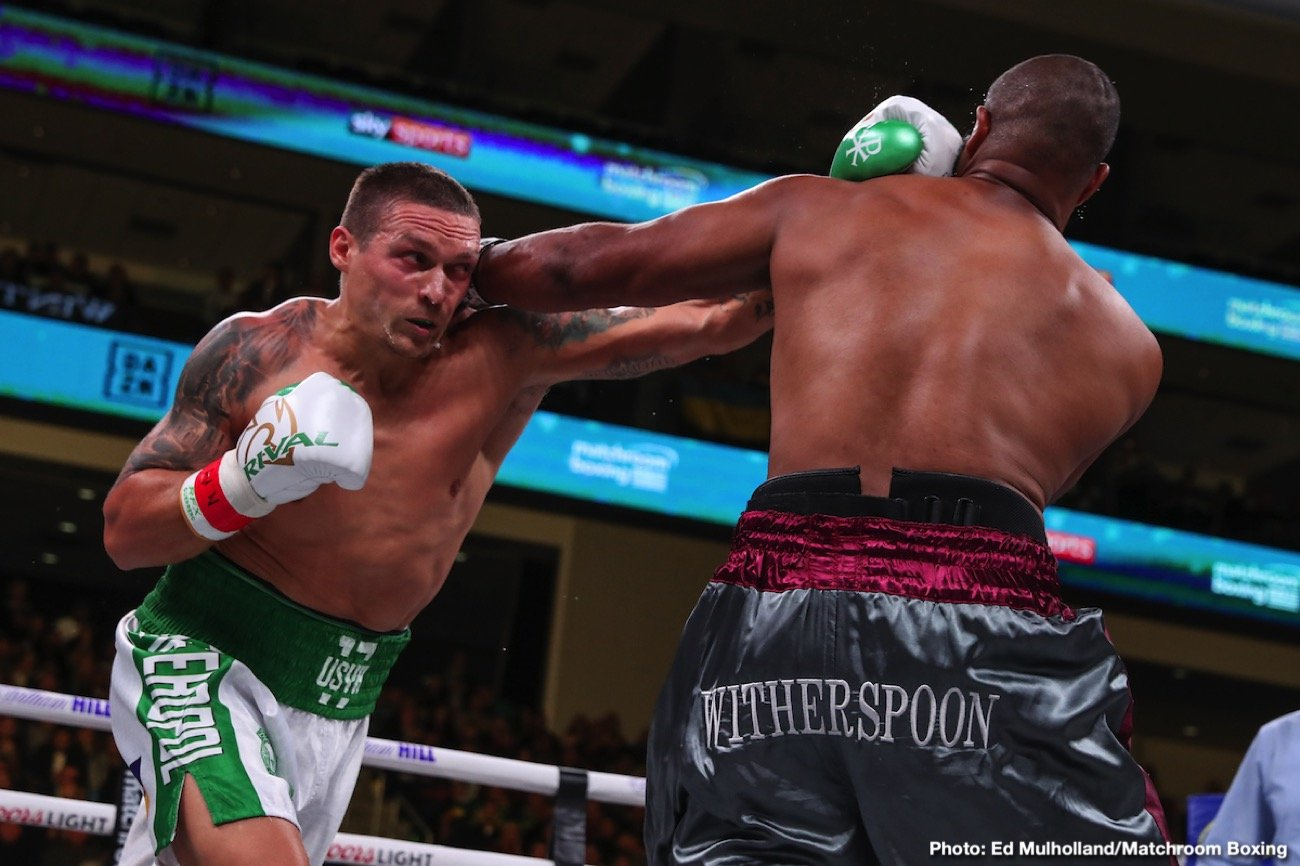 Dmitry Bivol - Oleksander's lack of punching power and size was highlighted on Saturday night with his unimpressive 7th round stoppage victory over an out of shape and old 38-year-old Chazz Witherspoon (38-4, 29 KOs) at the Wintrust Arena in Chicago, Illinois.