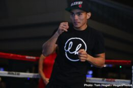 """Romero Duno, Ryan Garcia, Saul """"Canelo"""" Alvarez, Sergey Kovalev - Following today's final press conference, Canelo vs. Kovalev undercard fighters staged an open workout for fans at the MGM Resort and Casino. Those participating included Ryan """"Kingry"""" Garcia (18-0, 15 KOs), """"Ruthless"""" Romero Duno (21-1, 16 KOs), Seniesa """"Super Bad"""" Estrada (17-0, 7 KOs), Marlen Esparza (7-0, 1 KO) and Blair """"The Flair"""" Cobbs (12-0-1, 8 KOs). Canelo vs. Kovalev will take place Nov. 2, 2019 at the MGM Grand Garden Arena in Las Vegas and will be streamed live excusively on DAZN."""