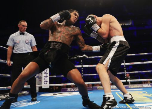 Conor Benn - Tonight in London, exciting, unbeaten welterweight prospect/contender Conor Benn got the big O2 show underway with a pretty impressive fourth-round KO over late sub Steve Jamoye. Benn, son of course of British legend and former two-weight champ Nigel Benn, took a couple of rounds to really get going but then cracked the Belgian with his right hand and sent him reeling, forcing the referee to wave the fight off instantly.