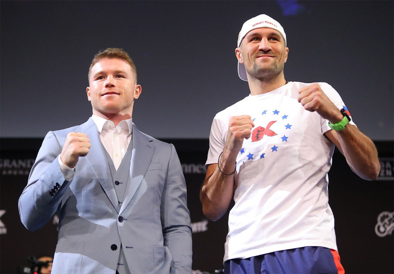 """Sergey Kovalev - Canelo Alvarez (52-1-2, 35 KOs) and Sergey """"Krusher"""" Kovalev (34-3-1, 29 KOs) hosted their final press conference today ahead of their 12-round fight for Kovalev's WBO Light Heavyweight World Title. The event will take place on Saturday, Nov. 2, 2019 at the MGM Grand Garden Arena in Las Vegas and will be streamed live exclusively on DAZN."""