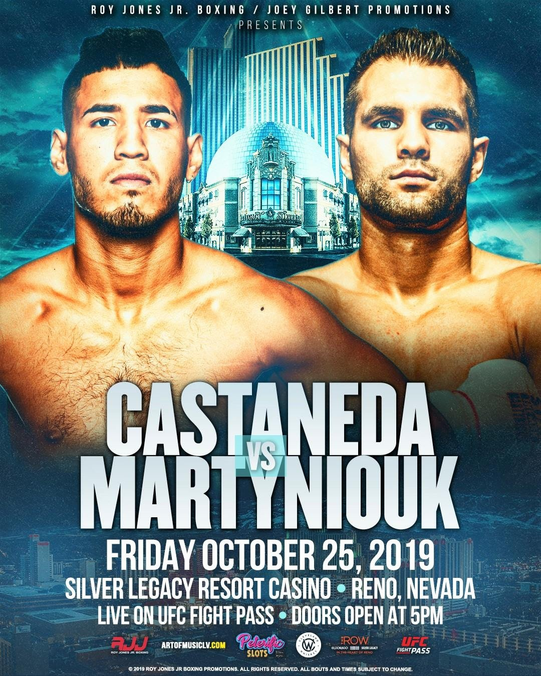 Stan Martyniouk -  Roy Jones Boxing Promotions has announced a loaded full- card for its latest installment of RJJ Boxing on UFC FIGHT PASS®, October 25 in the great fight town of Reno, Nevada.