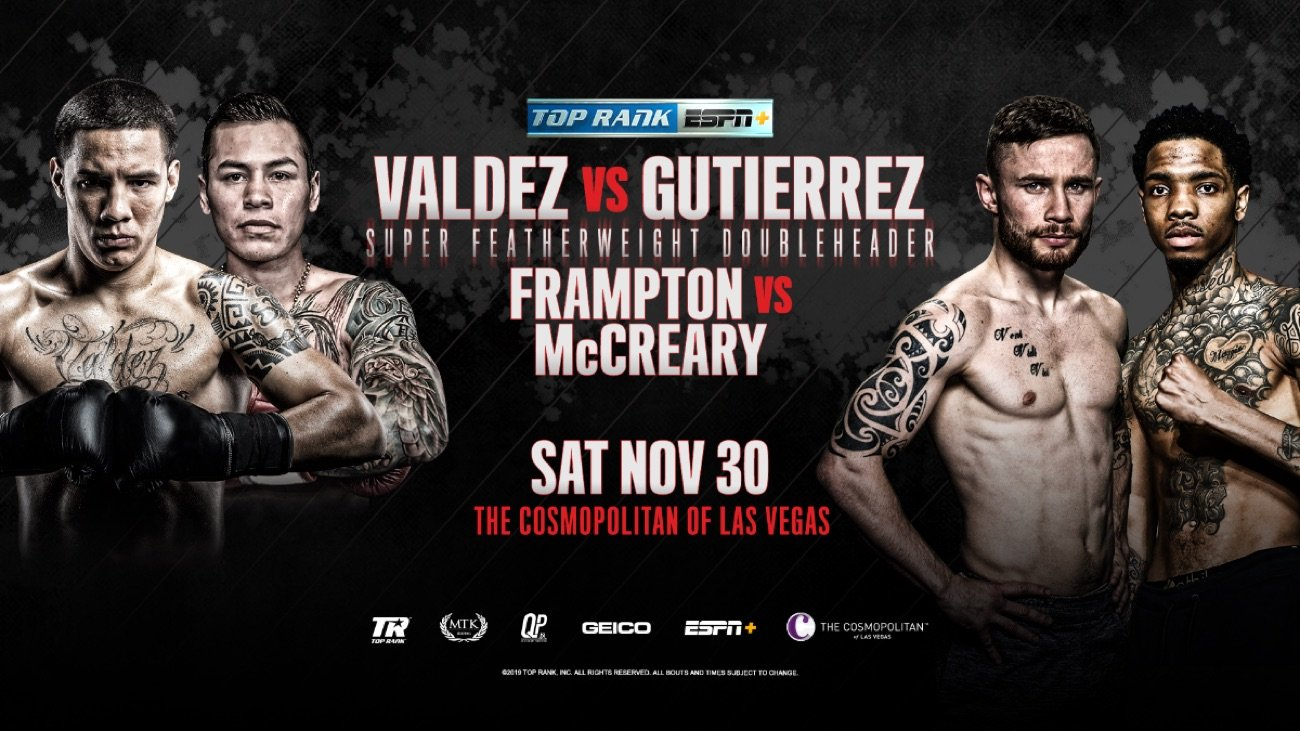 Óscar Valdez - Two of boxing's foremost action stars are set to light up the Las Vegas Strip for a Thanksgiving Weekend fistic bash Saturday, November 30 at The Chelsea inside The Cosmopolitan of Las Vegas.